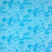 Самоклеюча декоративна 3Д панель під цеглу блакитний мармур -65