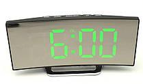 Часы настольные зеркальные LED DT 6507 с зеленой подсветкой Black