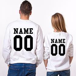Парные именные свитшоты [Цифры и имена/фамилии можно менять] (50-100% предоплата)
