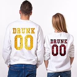 Парные именные свитшоты Drunk - Beer/Wine [Цифры можно менять] (50-100% предоплата)