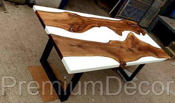 Стол из массива дерева слэбов американского ореха с эпоксидной смолой река лофт 180Х80Х77 см, фото 3