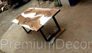 Стол из массива дерева слэбов американского ореха с эпоксидной смолой река лофт 180Х80Х77 см, фото 2