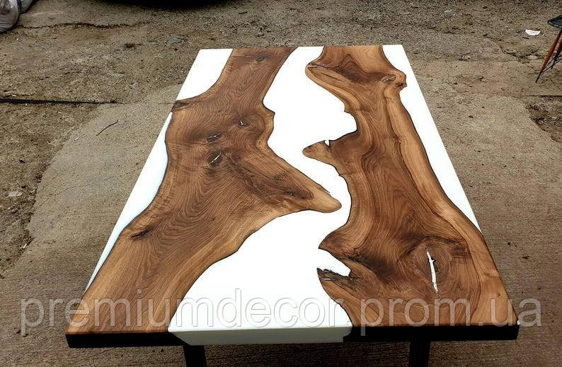 Стол из массива дерева слэбов американского ореха с эпоксидной смолой река лофт 180Х80Х77 см