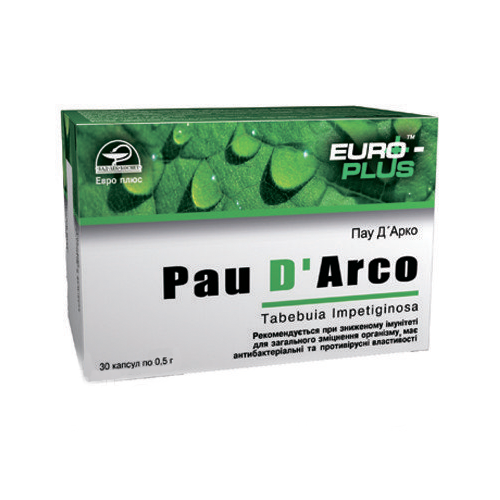 Пау Д'Арко Pau D'Arco кора муравьиного дерева 30 капсул Евро Плюс