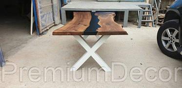 Стол из массива дерева американского ореха с эпоксидной смолой река лофт 180Х100Х77 см, фото 2