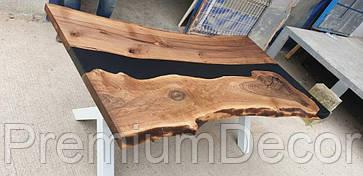 Стол из массива дерева американского ореха с эпоксидной смолой река лофт 180Х100Х77 см, фото 3