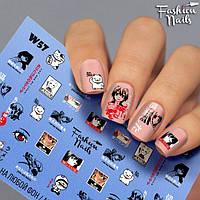 Водные наклейки для ногтей - Слайдеры для ногтей Fashion Nails Котик, Глаза, Лица, Мультяшки, Прическа W57