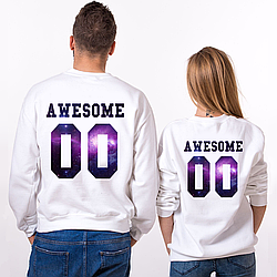 Парные именные свитшоты Awesome - Space [Цифры можно менять] (50-100% предоплата)