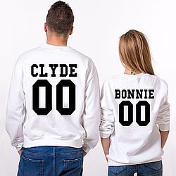 """Парные именные свитшоты """"CLYDE/BONNIE"""" [Цифры можно менять] (50-100% предоплата)"""