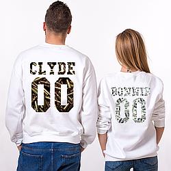 """Парные именные свитшоты """"CLYDE/BONNIE"""" - Ammo and Money [Цифры можно менять] (50-100% предоплата)"""