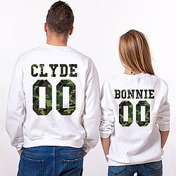 "Парные именные свитшоты ""CLYDE/BONNIE"" - Military [Цифры можно менять] (50-100% предоплата)"
