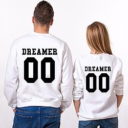 """Парные именные свитшоты """"Dreamer"""" [Цифры можно менять] (50-100% предоплата)"""