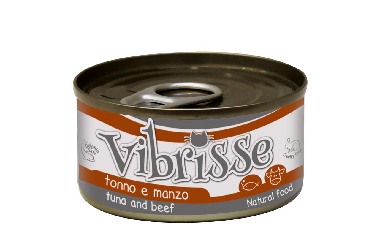Консервированный корм для котов VIBRISSE (тунец, говядина) 70 г