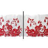 Ажурное кружево вышивка на сетке, красного цвета, ширина 20 см, фото 4