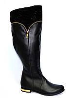 Сапоги высокие зимние кожаные на меху, широкое голенище!, фото 1