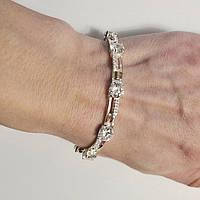 Серебряный браслет с золотыми пластинами и цирконием Сияна