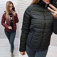 Женская демисезонная двухсторонняя куртка, арт.555, цвет чёрный + бордо
