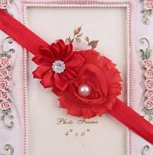Повязка на голову детская красная - размер декора 9см, размер универсальный (на резинке)