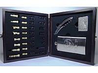 I6-38 Набір у дерев'яній скриньці: шахи + фляга + запальничка + ножа/штопор. (Великий)