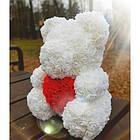 Мишка из 3D роз высотой 40см Белый, фото 3