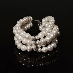 Браслет - натуральный белый жемчуг, серебро