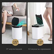 Сенсорное мусорное ведро JAH 12 л круглое черное, фото 2
