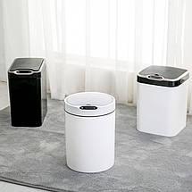 Сенсорное мусорное ведро JAH 12 л круглое черное, фото 3