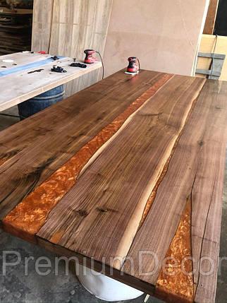 Стол из массива дерева с эпоксидной смолой река лофт мебель, фото 2