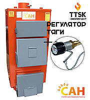 Дровяные котлы с  глубокой топкой для топлива САН Эко (М) мощностью 25 кВт с механическим регулятором тяги