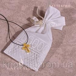 Мешочек для детского крестильного крестика белый/молочный, без вышивки, Miminobaby