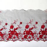 Ажурное кружево вышивка на сетке, красного цвета, ширина 20 см, фото 2