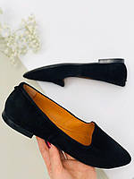 Женские черные туфли-балетки без каблука из натурального велюра