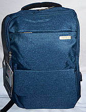 Мужской синий городской рюкзак из текстиля на 2 отделения на молнии, с разъемом USB 27*41см