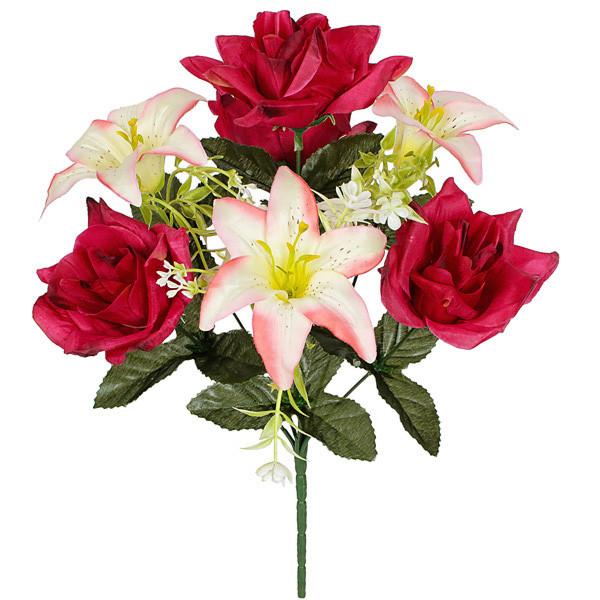 Букет розы и лилии, 40см(20 шт. в уп)