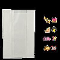 Бумажный пакет без ручек белый жиростойкий 220х140х50мм (ВхШхГ) 70г/м² 100шт (1417)