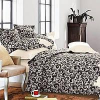 Комплект постельного белья Kugulu Евро 200х230 см Черно-белый