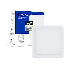 Світильник LED 6W 3000K 480Lm квадратний вбудований Global
