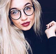 Имиджевые стеклянные очки в черной пластиковой оправе нулевки для имиджа круглые очки женские