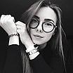 Очки имиджевые стеклянные женские в черной пластиковой оправе нулевки круглые, фото 4