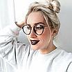 Очки имиджевые стеклянные женские в черной пластиковой оправе нулевки круглые, фото 5