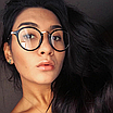 Очки имиджевые стеклянные женские в черной пластиковой оправе нулевки круглые, фото 7