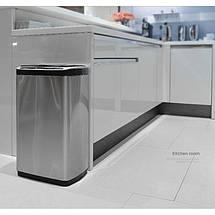 Сенсорное мусорное ведро JAH 30 л прямоугольное с внутренним ведром металлик, фото 2