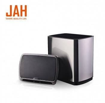 Сенсорное мусорное ведро JAH 50 л прямоугольное черный металлик без внутреннего ведра, фото 2