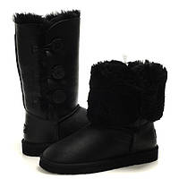 Угги женские UGG Bailey Button Triplet Black Leather Оригинал