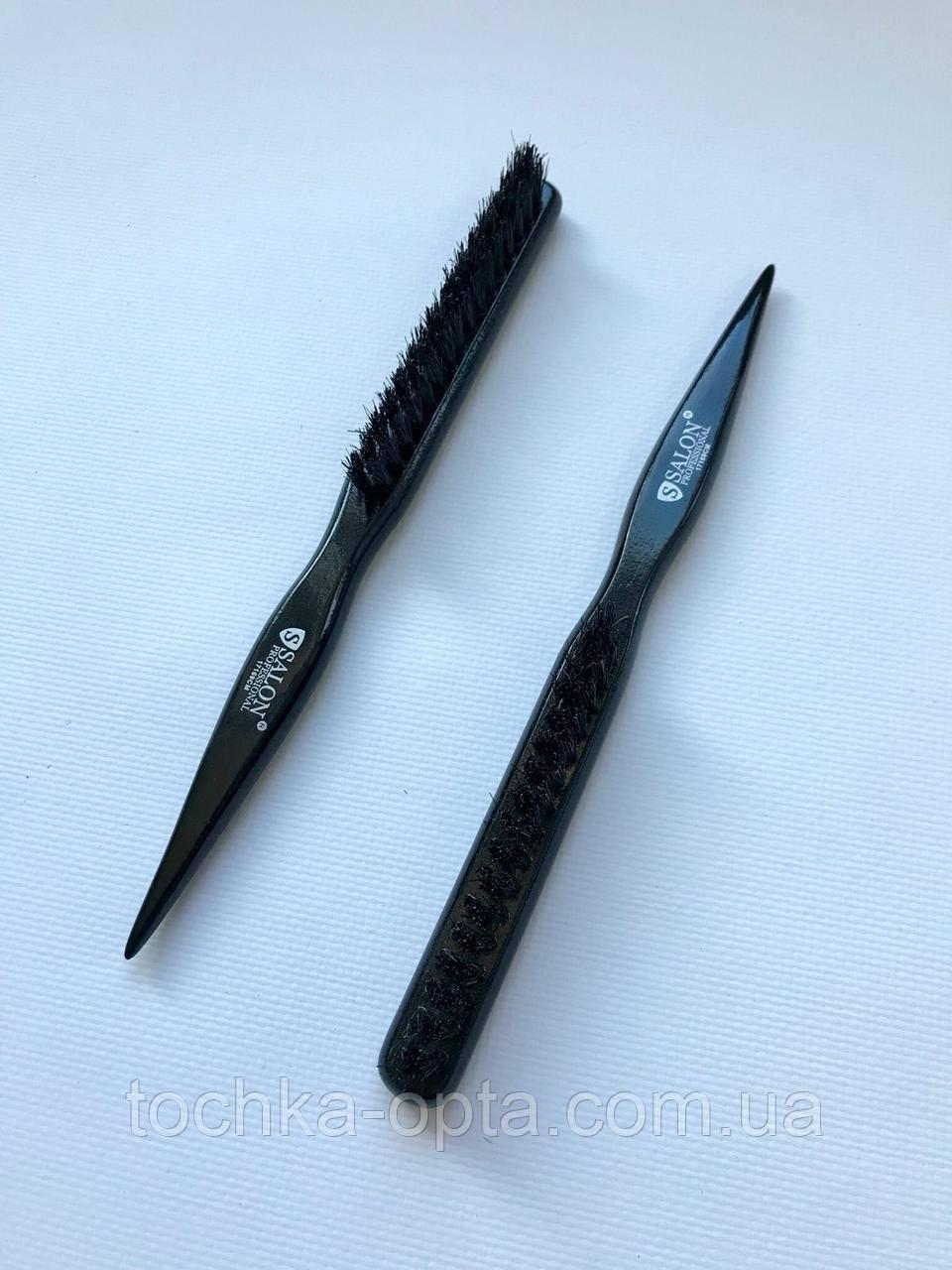 Расческа SALON PROFESSIONAL для начёса волос,трёхрядка из натуральной щетины