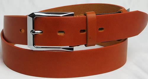 Брючный мужской кожаный ремень 2624 рыжий ДхШ: 120х3,5 см.