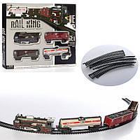 Железная дорога 8239-1  104-68см, локомотив, 3 вагона, свет,на бат-ке, в кор-ке, 35,5-24,5-4см