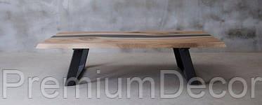 Стол из массива дерева с эпоксидной смолой река лофт мебель дуб ясень орех тополь, фото 3