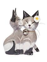Пара котов целующихся (серые), 15 см