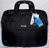 Текстильная черная сумка для ноутбука на 3 отделения на молнии 45*36 см